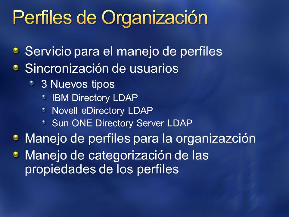 Servicio para el manejo de perfiles Sincronización de usuarios 3 Nuevos tipos IBM Directory LDAP Novell eDirectory LDAP Sun ONE Directory Server LDAP Manejo de perfiles para la organizazción Manejo de categorización de las propiedades de los perfiles