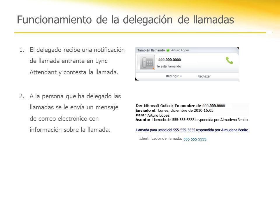 Funcionamiento de la delegación de llamadas 1.El delegado recibe una notificación de llamada entrante en Lync Attendant y contesta la llamada. 2.A la