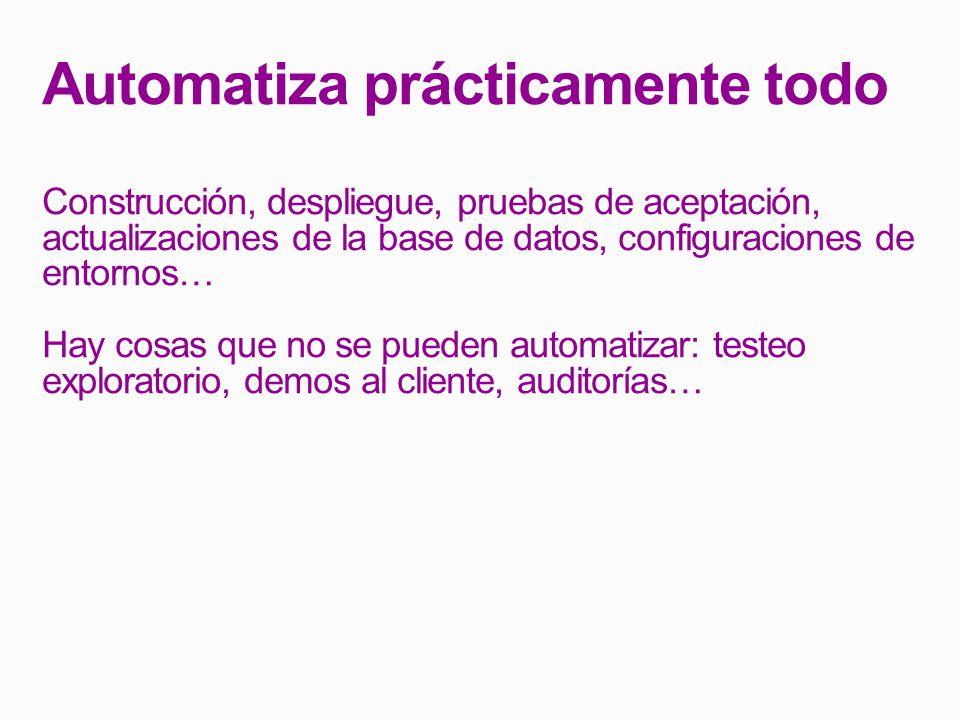 Automatiza prácticamente todo Construcción, despliegue, pruebas de aceptación, actualizaciones de la base de datos, configuraciones de entornos… Hay cosas que no se pueden automatizar: testeo exploratorio, demos al cliente, auditorías…