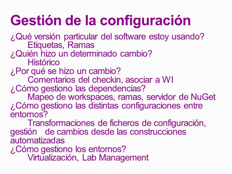 Gestión de la configuración ¿Qué versión particular del software estoy usando.