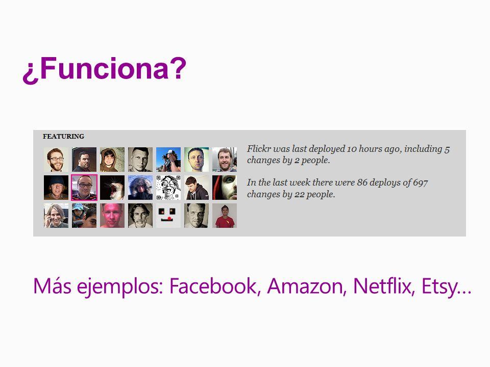 ¿Funciona Más ejemplos: Facebook, Amazon, Netflix, Etsy…