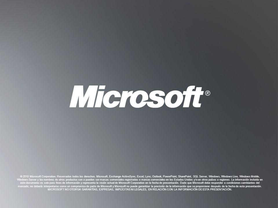V OLVER A O BJETIVOS V OLVER A O BJETIVOS © 2010 Microsoft Corporation. Reservados todos los derechos. Microsoft, Exchange ActiveSync, Excel, Lync, Ou