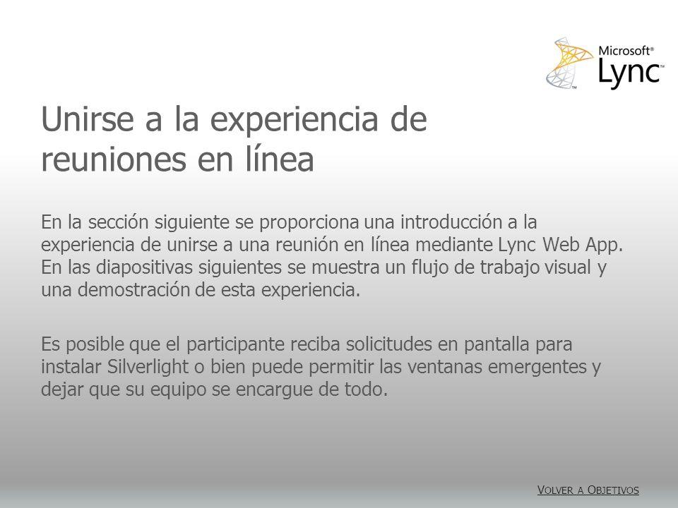 Diagrama de flujo para unirse a la experiencia de reuniones en línea Sí No Sí No Sí Para unirse a una reunión en línea mediante Lync Web App se requiere un número mínimo de clics de modo que los participantes puedan conectarse rápidamente.