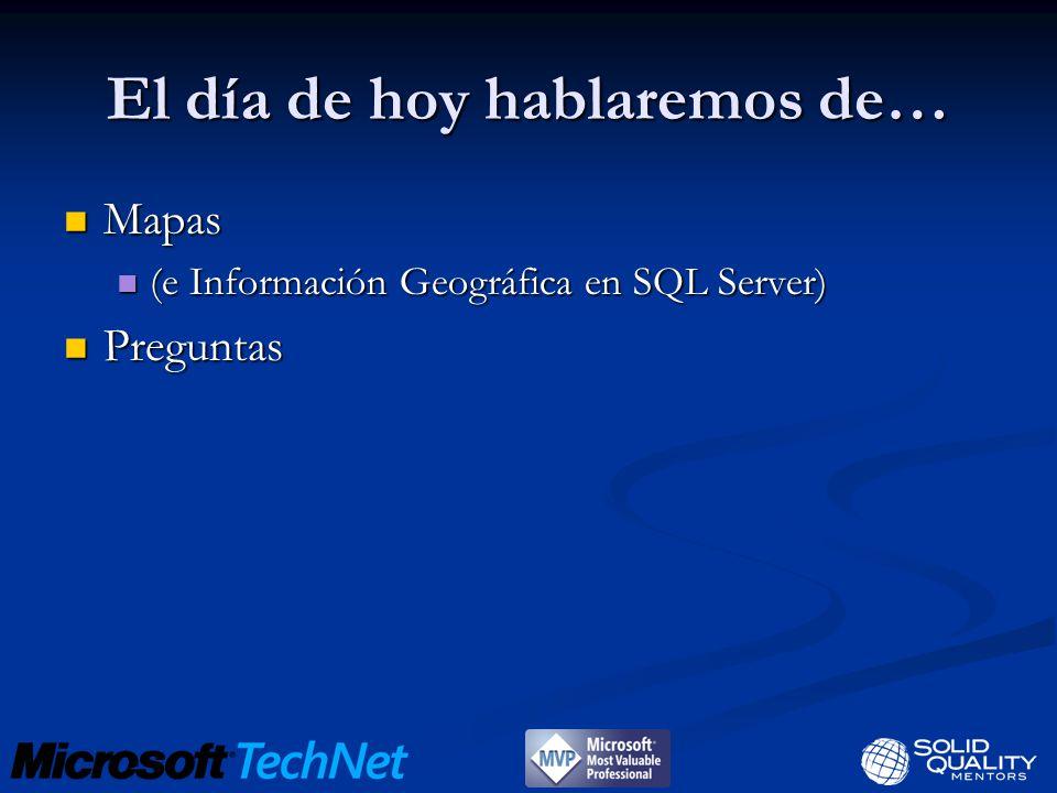 El día de hoy hablaremos de… Mapas Mapas (e Información Geográfica en SQL Server) (e Información Geográfica en SQL Server) Preguntas Preguntas