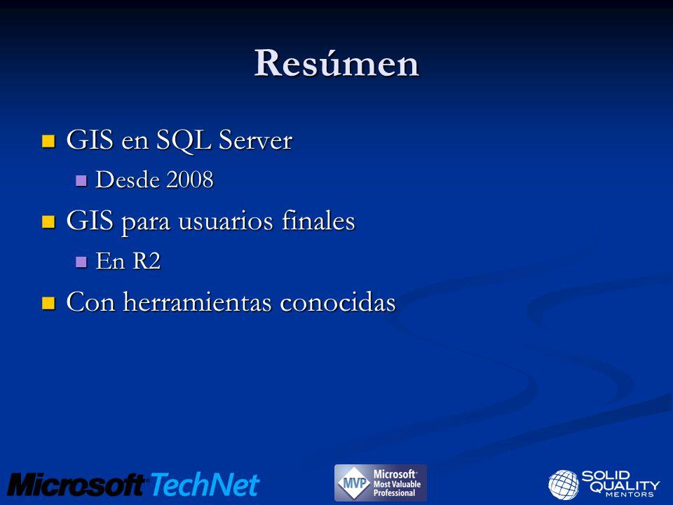 Resúmen GIS en SQL Server GIS en SQL Server Desde 2008 Desde 2008 GIS para usuarios finales GIS para usuarios finales En R2 En R2 Con herramientas conocidas Con herramientas conocidas