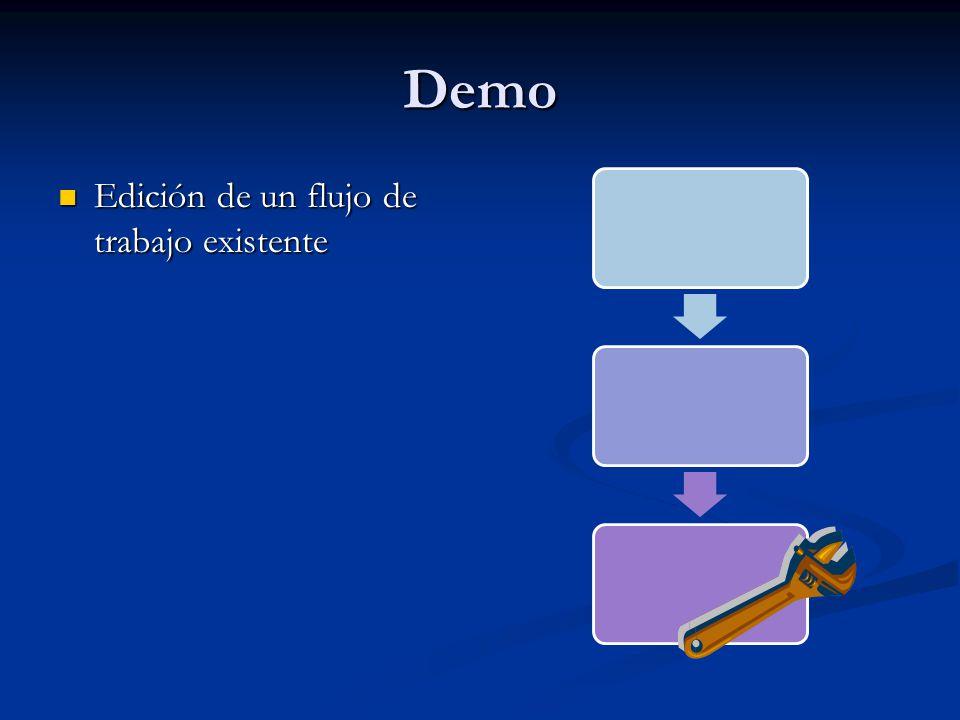 Demo Edición de un flujo de trabajo existente Edición de un flujo de trabajo existente