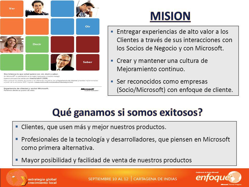 Entregar experiencias de alto valor a los Clientes a través de sus interacciones con los Socios de Negocio y con Microsoft.