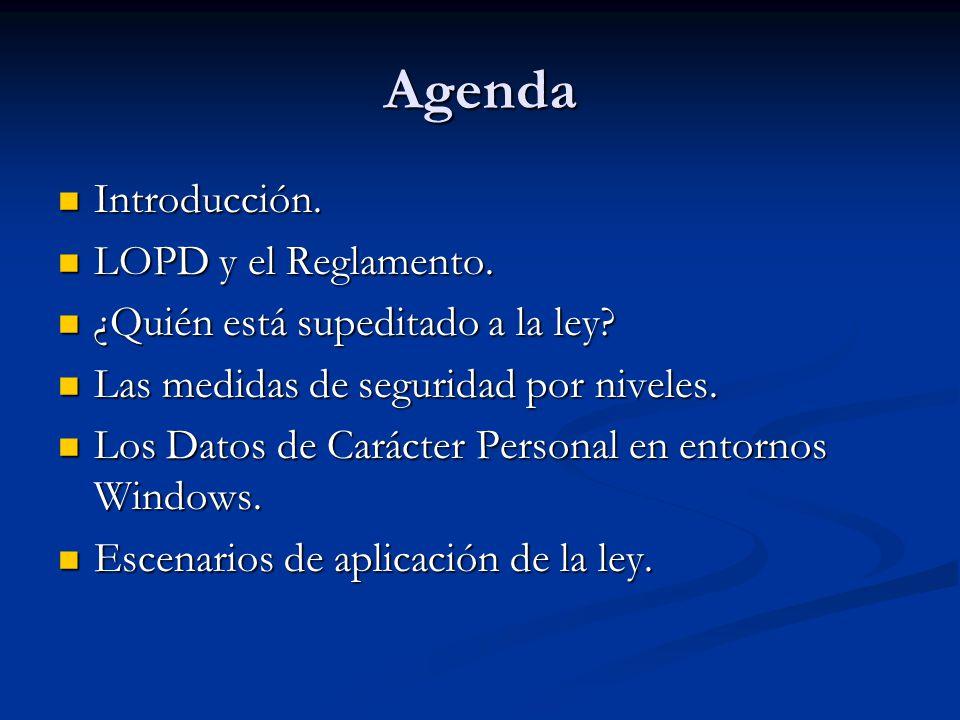 Agenda Introducción. Introducción. LOPD y el Reglamento. LOPD y el Reglamento. ¿Quién está supeditado a la ley? ¿Quién está supeditado a la ley? Las m