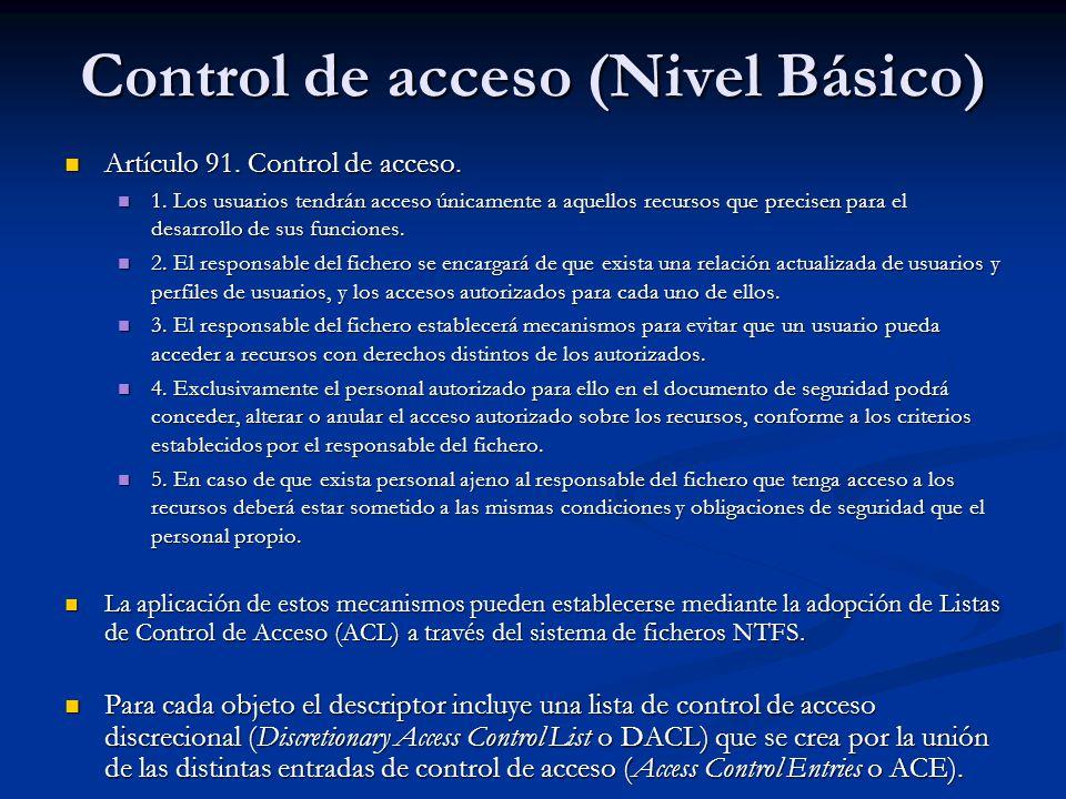Artículo 91. Control de acceso. Artículo 91. Control de acceso. 1. Los usuarios tendrán acceso únicamente a aquellos recursos que precisen para el des