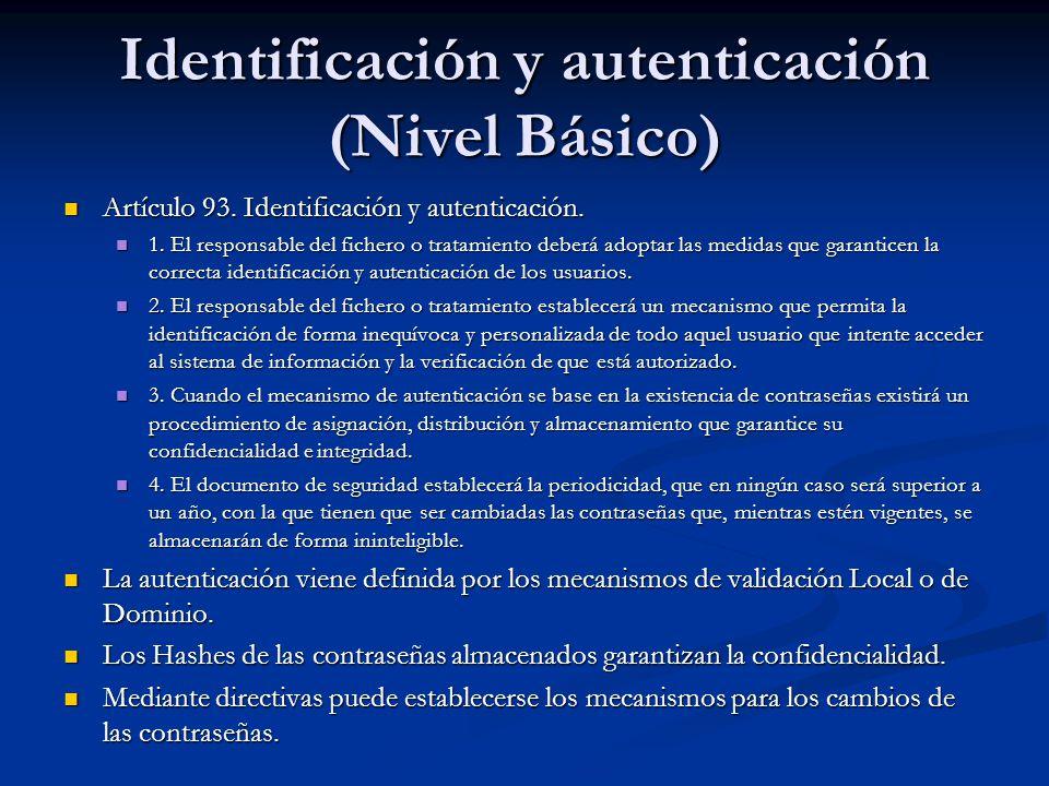 Identificación y autenticación (Nivel Básico) Artículo 93. Identificación y autenticación. Artículo 93. Identificación y autenticación. 1. El responsa