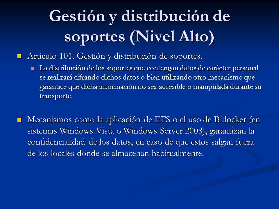 Gestión y distribución de soportes (Nivel Alto) Artículo 101. Gestión y distribución de soportes. Artículo 101. Gestión y distribución de soportes. La
