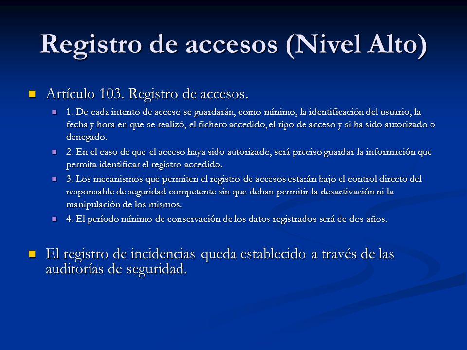 Registro de accesos (Nivel Alto) Artículo 103. Registro de accesos. Artículo 103. Registro de accesos. 1. De cada intento de acceso se guardarán, como