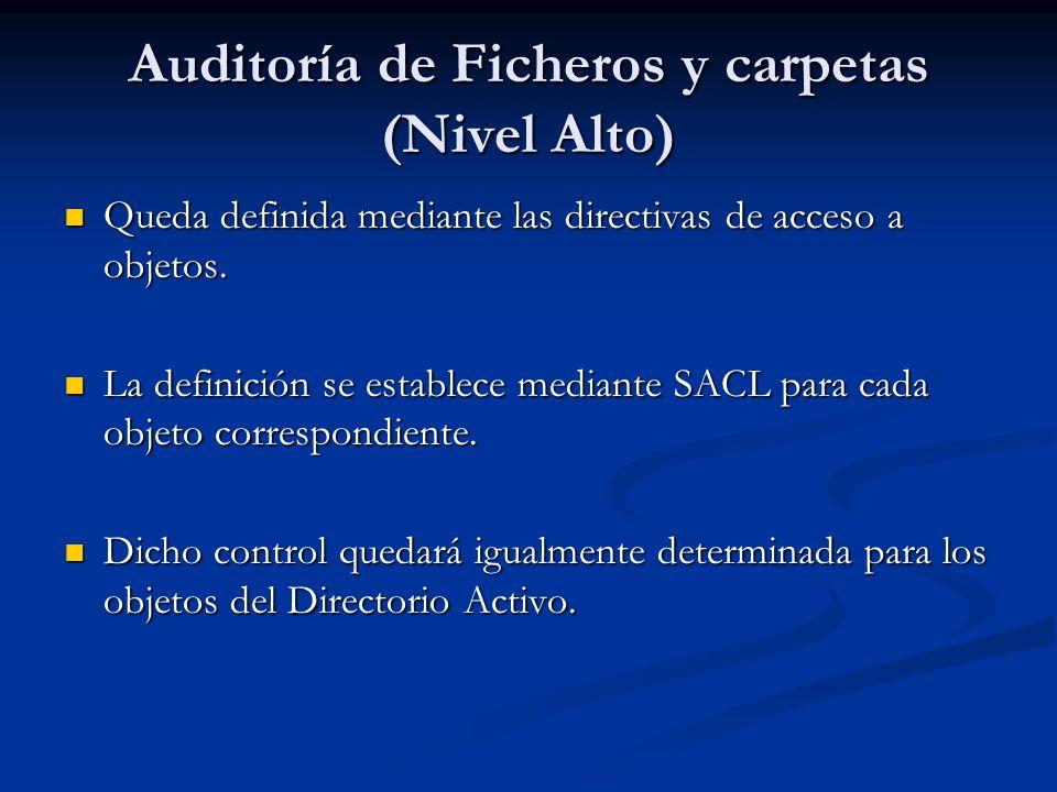 Auditoría de Ficheros y carpetas (Nivel Alto) Queda definida mediante las directivas de acceso a objetos. Queda definida mediante las directivas de ac
