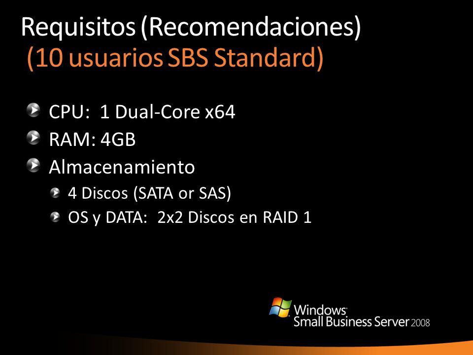 Requisitos (Recomendaciones) (10 usuarios SBS Standard) CPU: 1 Dual-Core x64 RAM: 4GB Almacenamiento 4 Discos (SATA or SAS) OS y DATA: 2x2 Discos en R