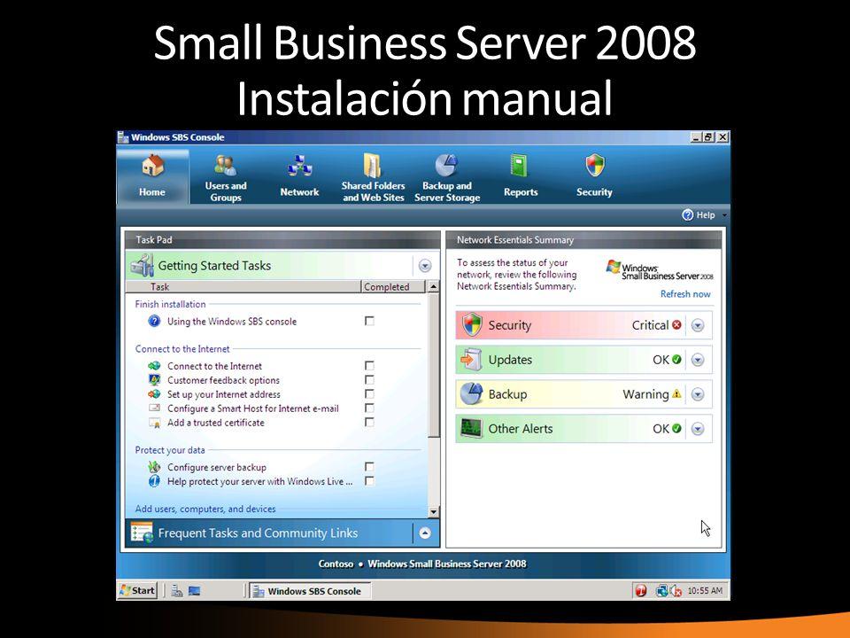 Small Business Server 2008 Instalación manual