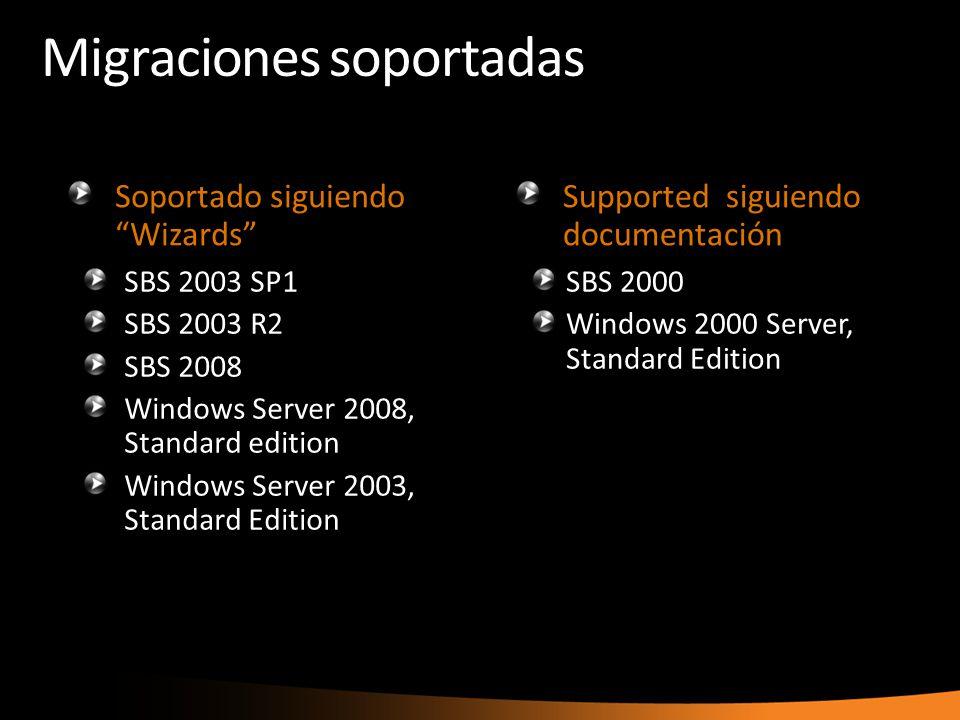 Migraciones soportadas Soportado siguiendo Wizards SBS 2003 SP1 SBS 2003 R2 SBS 2008 Windows Server 2008, Standard edition Windows Server 2003, Standa