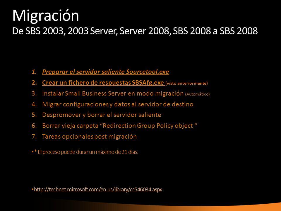 1.Preparar el servidor saliente Sourcetool.exe 2.Crear un fichero de respuestas SBSAfg.exe (visto anteriormente) 3.Instalar Small Business Server en m