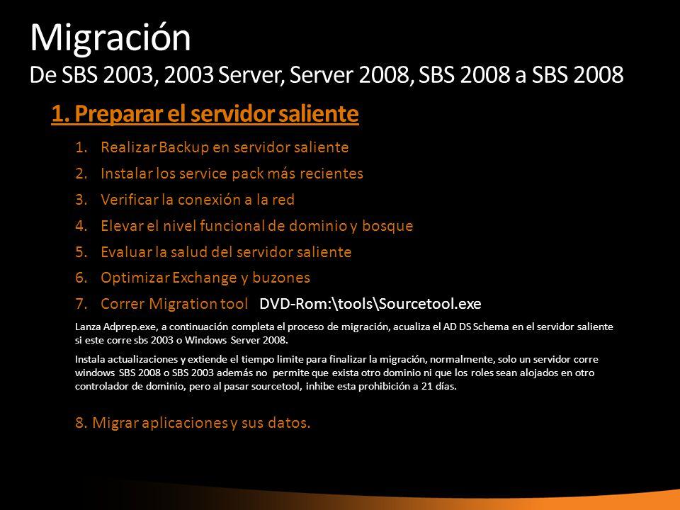 1.Realizar Backup en servidor saliente 2.Instalar los service pack más recientes 3.Verificar la conexión a la red 4.Elevar el nivel funcional de domin