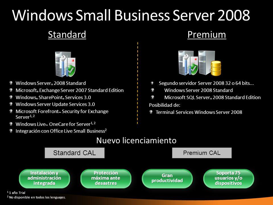 Windows Small Business Server 2008 Windows Server ® 2008 Standard Microsoft ® Exchange Server 2007 Standard Edition Windows ® SharePoint ® Services 3.