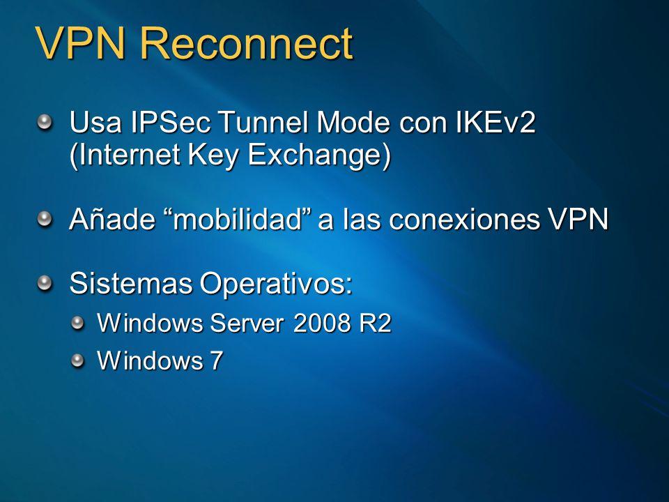 Qué es DirectAcess Una VPN, sin VPNUna VPN, sin VPN Los usuarios remotos trabajan del mismo modo dentro y fuera de la oficinaLos usuarios remotos trabajan del mismo modo dentro y fuera de la oficina La conexión se realiza antes de que el usuario inicie sesiónLa conexión se realiza antes de que el usuario inicie sesión Basado completamente en IPv6Basado completamente en IPv6