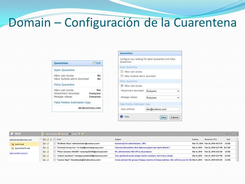 Domain – Configuración de la Cuarentena