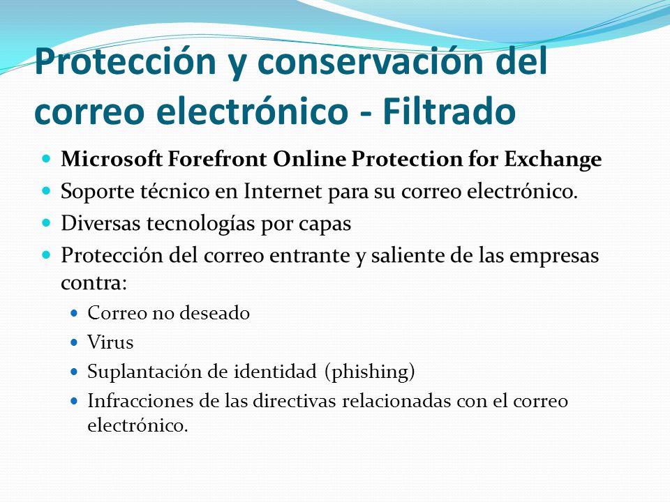 Protección y conservación del correo electrónico - Filtrado Microsoft Forefront Online Protection for Exchange Soporte técnico en Internet para su correo electrónico.