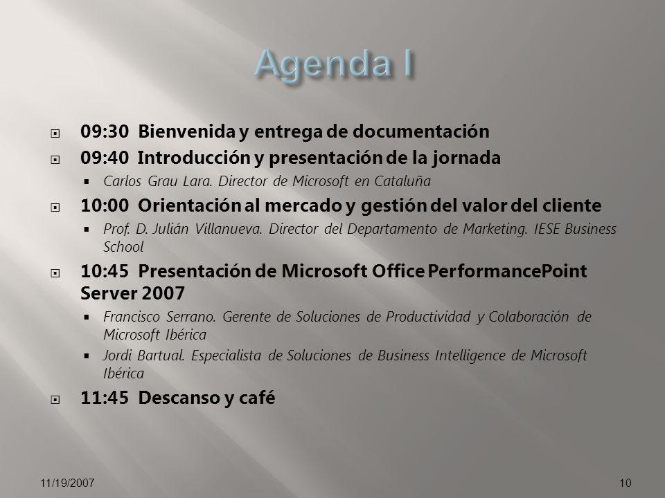09:30 Bienvenida y entrega de documentación 09:40 Introducción y presentación de la jornada Carlos Grau Lara.