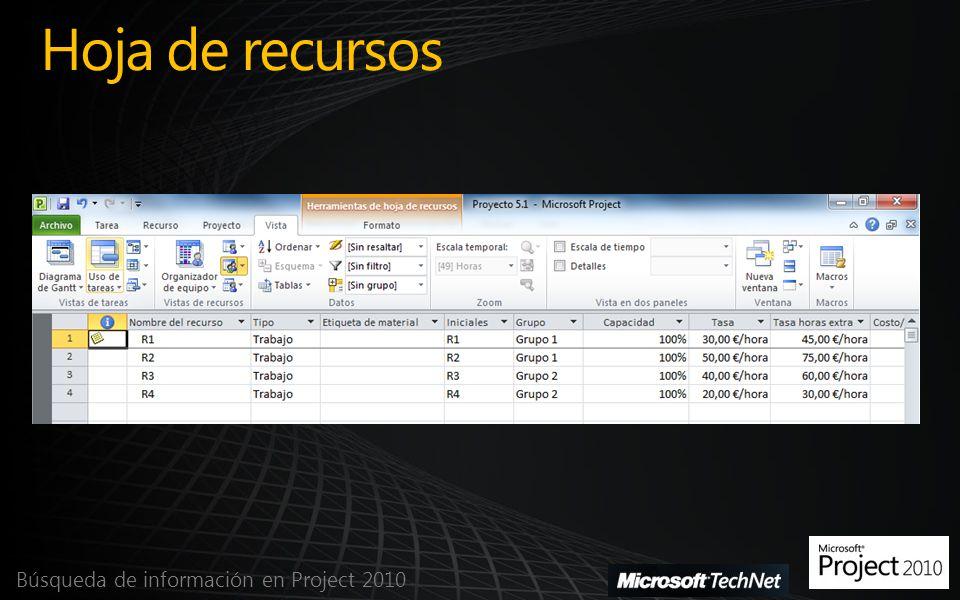 Hoja de recursos Búsqueda de información en Project 2010