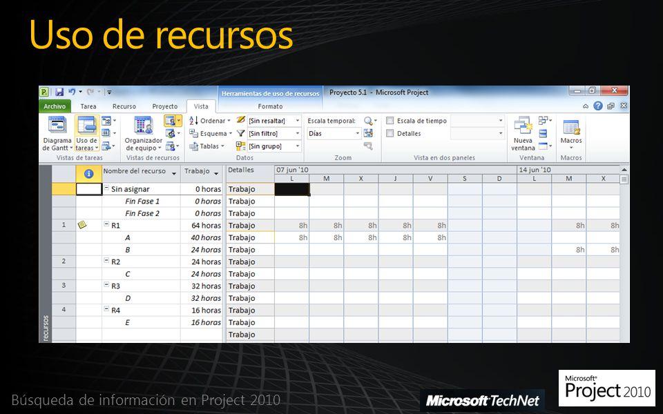 Uso de recursos Búsqueda de información en Project 2010