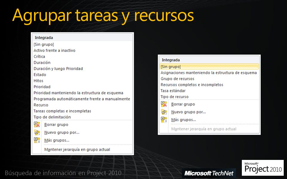Agrupar tareas y recursos Búsqueda de información en Project 2010
