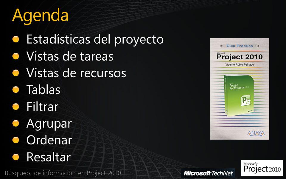 Agenda Búsqueda de información en Project 2010