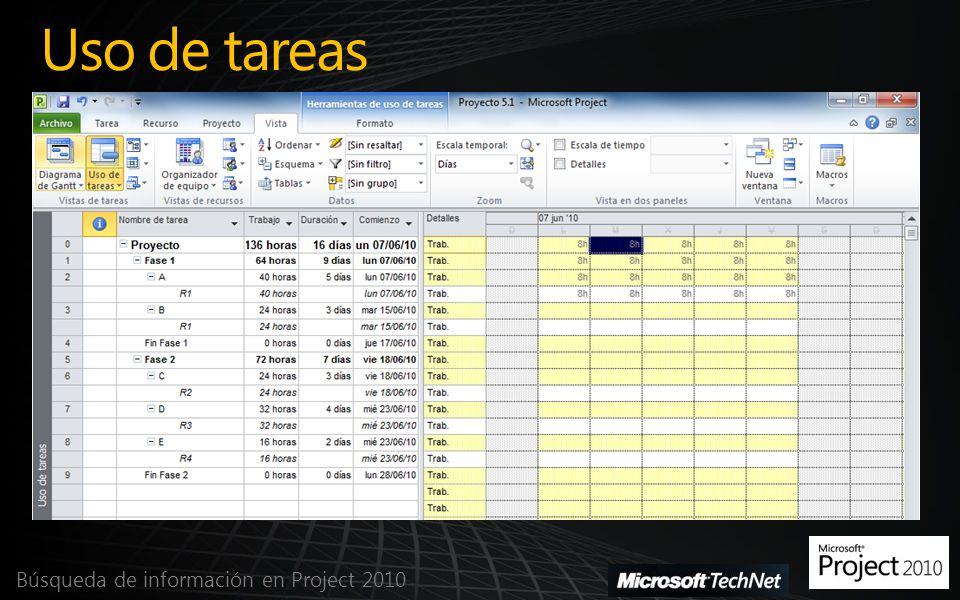 Filtrar tareas y recursos Búsqueda de información en Project 2010