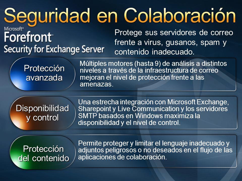 Múltiples motores (hasta 9) de análisis a distintos niveles a través de la infraestructura de correo mejoran el nivel de protección frente a las amenazas.