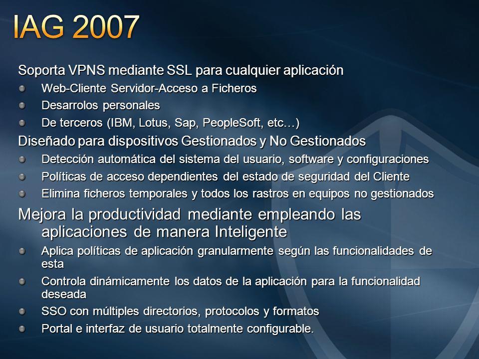 Soporta VPNS mediante SSL para cualquier aplicación Web-Cliente Servidor-Acceso a Ficheros Desarrolos personales De terceros (IBM, Lotus, Sap, PeopleS