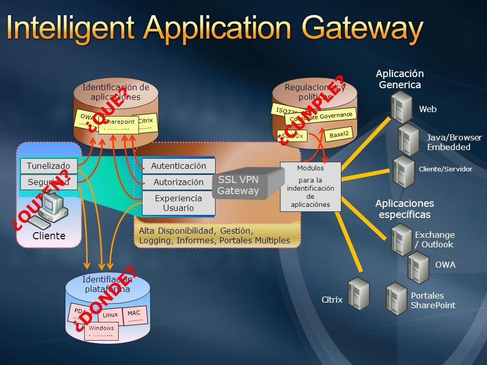 Cliente Alta Disponibilidad, Gestión, Logging, Informes, Portales Multiples Autenticación Autorización Experiencia Usuario Tunelizado Seguridad Aplica