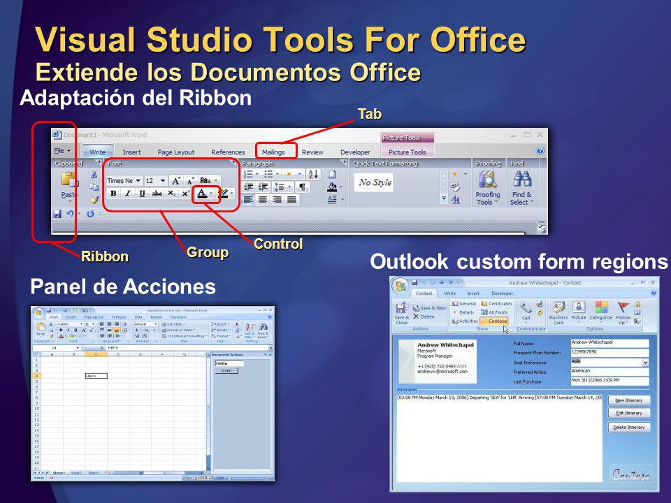 Visual Studio Tools For Office Extiende los Documentos Office Tab Group Ribbon Control Adaptación del Ribbon Outlook custom form regions Panel de Acciones