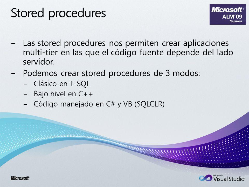 Stored procedures Las stored procedures nos permiten crear aplicaciones multi-tier en las que el código fuente depende del lado servidor. Podemos crea