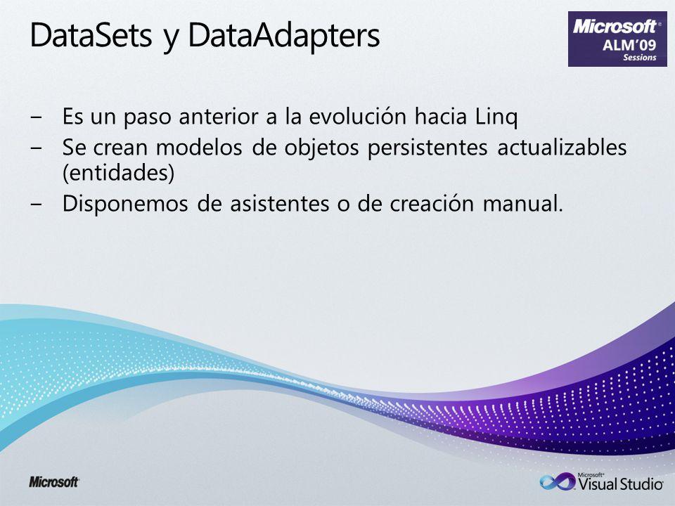 DataSets y DataAdapters Es un paso anterior a la evolución hacia Linq Se crean modelos de objetos persistentes actualizables (entidades) Disponemos de asistentes o de creación manual.