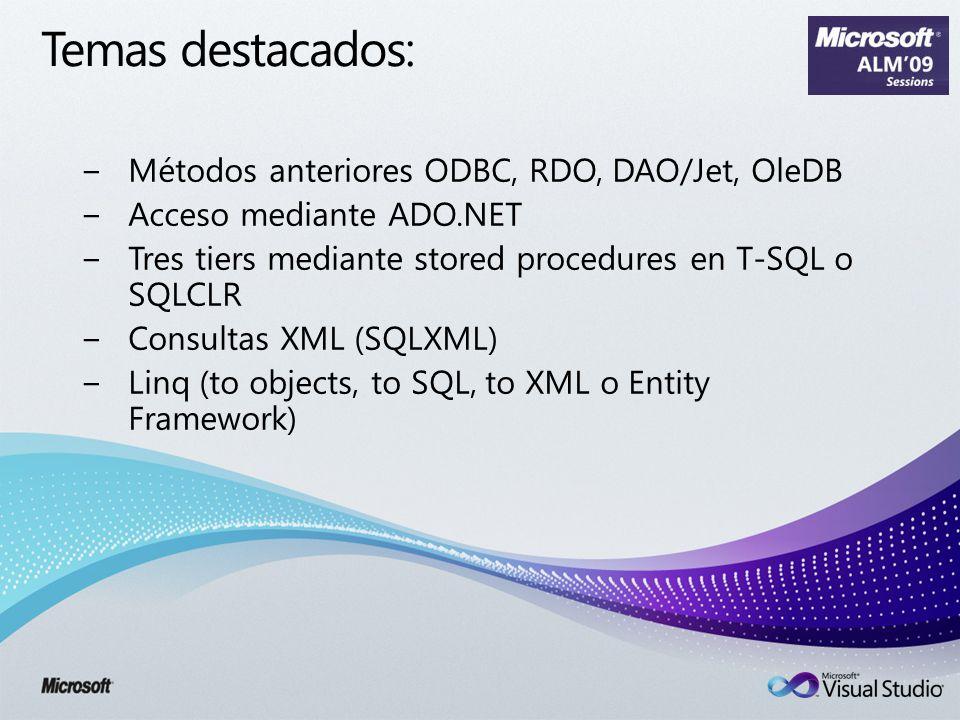 Temas destacados: Métodos anteriores ODBC, RDO, DAO/Jet, OleDB Acceso mediante ADO.NET Tres tiers mediante stored procedures en T-SQL o SQLCLR Consultas XML (SQLXML) Linq (to objects, to SQL, to XML o Entity Framework)