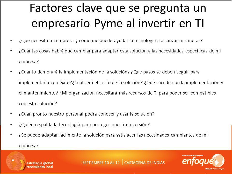 Factores clave que se pregunta un empresario Pyme al invertir en TI ¿Qué necesita mi empresa y cómo me puede ayudar la tecnología a alcanzar mis metas.