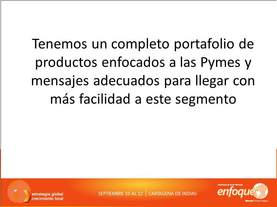 Tenemos un completo portafolio de productos enfocados a las Pymes y mensajes adecuados para llegar con más facilidad a este segmento