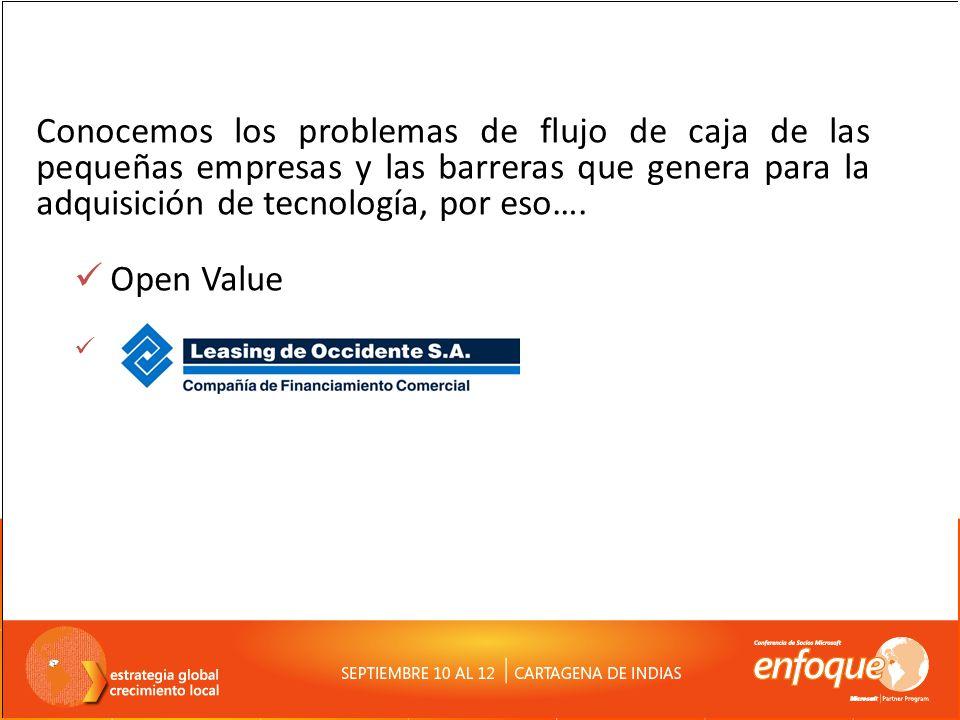 Conocemos los problemas de flujo de caja de las pequeñas empresas y las barreras que genera para la adquisición de tecnología, por eso…. Open Value.