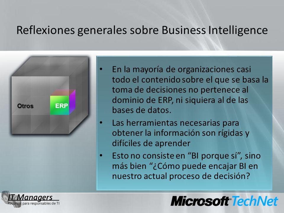 OtrosERP Reflexiones generales sobre Business Intelligence En la mayoría de organizaciones casi todo el contenido sobre el que se basa la toma de decisiones no pertenece al dominio de ERP, ni siquiera al de las bases de datos.