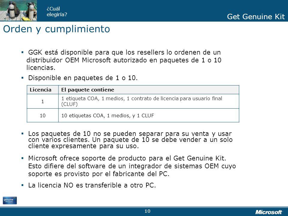 Get Genuine Kit ¿Cuál elegiría? Get Genuine Kit GGK está disponible para que los resellers lo ordenen de un distribuidor OEM Microsoft autorizado en p