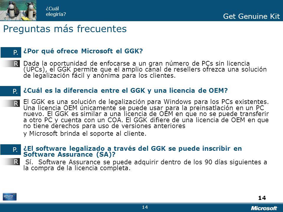 Get Genuine Kit ¿Cuál elegiría? Get Genuine Kit 14 ¿Por qué ofrece Microsoft el GGK? Dada la oportunidad de enfocarse a un gran número de PCs sin lice