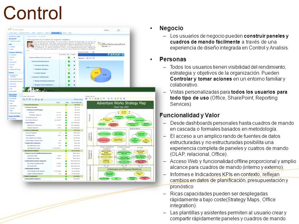 Control Negocio –Los usuarios de negocio pueden construir paneles y cuadros de mando fácilmente a través de una experiencia de diseño integrada en Control y Analisis.