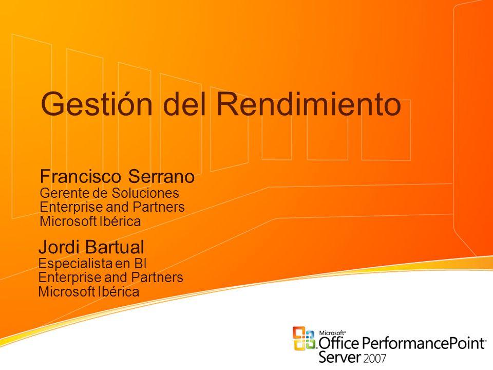 Gestión del Rendimiento Francisco Serrano Gerente de Soluciones Enterprise and Partners Microsoft Ibérica Jordi Bartual Especialista en BI Enterprise