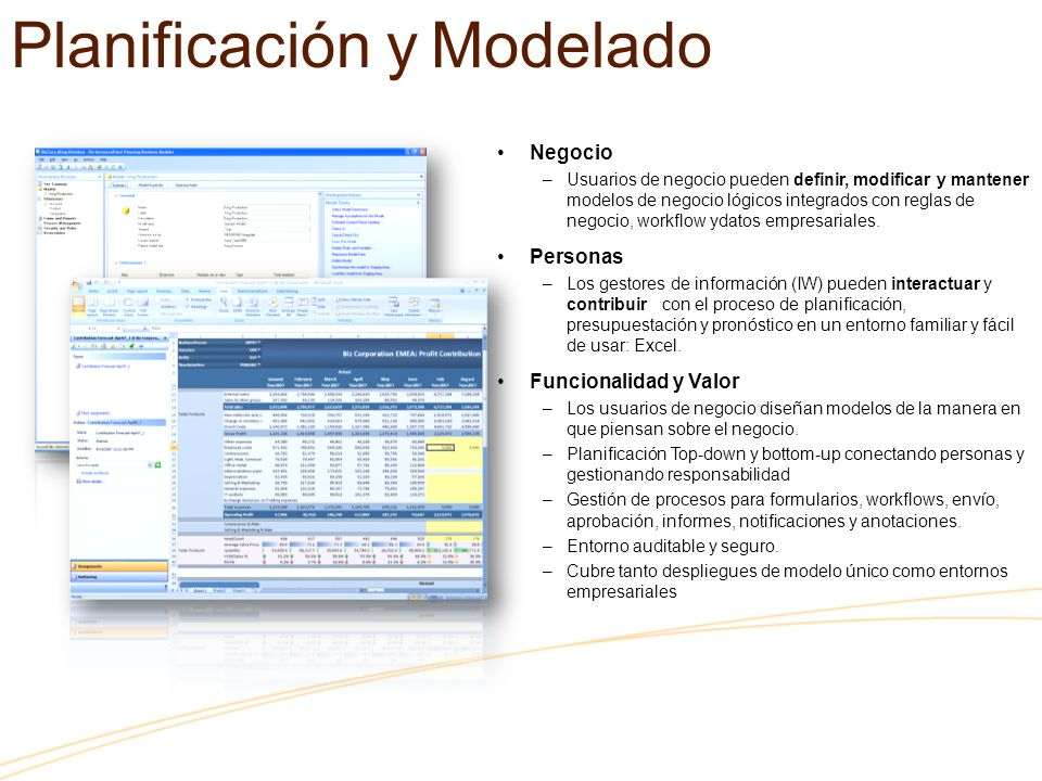 Negocio –Usuarios de negocio pueden definir, modificar y mantener modelos de negocio lógicos integrados con reglas de negocio, workflow ydatos empresariales.