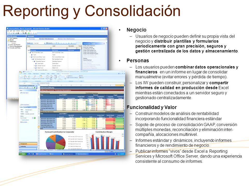 Reporting y Consolidación Negocio –Usuarios de negocio pueden definir su propia vista del negocio y distribuir plantillas y formularios periodicamente con gran precisión, seguros y gestión centralizada de los datos y almacenamiento.