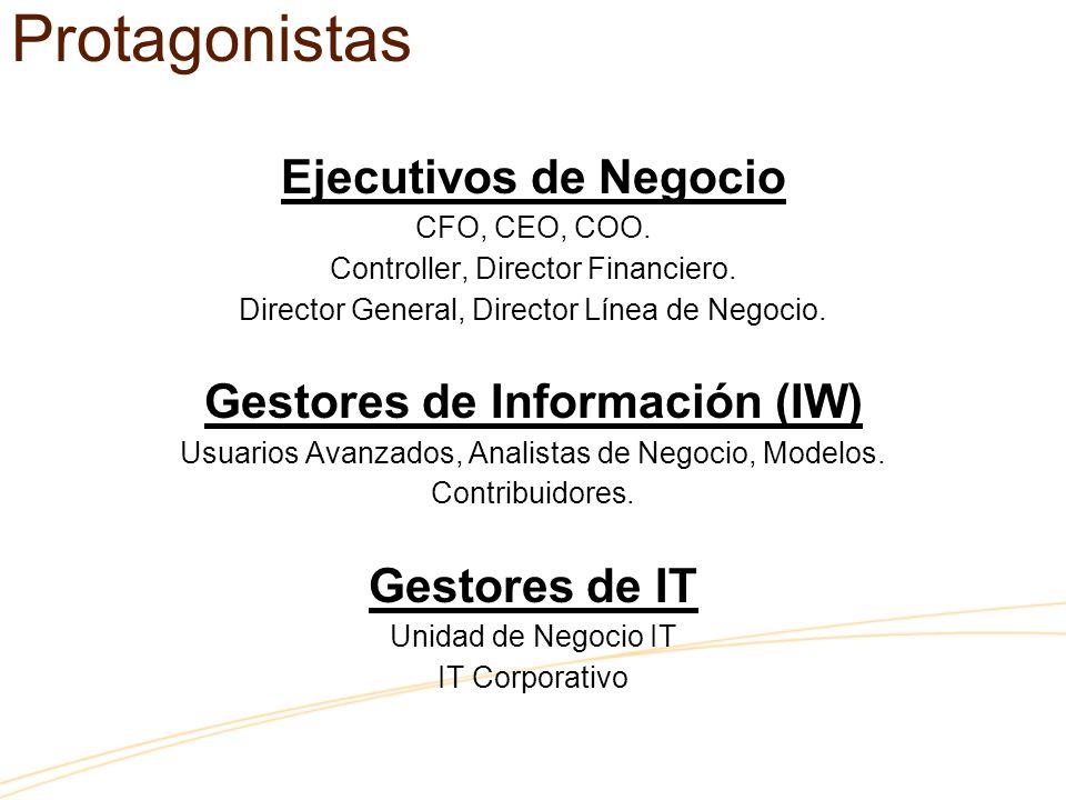 Ejecutivos de Negocio CFO, CEO, COO. Controller, Director Financiero. Director General, Director Línea de Negocio. Gestores de Información (IW) Usuari
